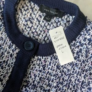 NWT Ann Taylor Boucle Cardigan Sweater Size L